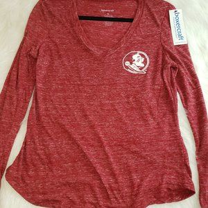 BOXERCRAFT Heather Red V Neck Florida State NWT S